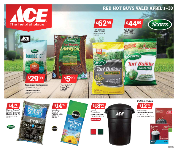 Link to ACE Red Hot Buys April 1 thru 30